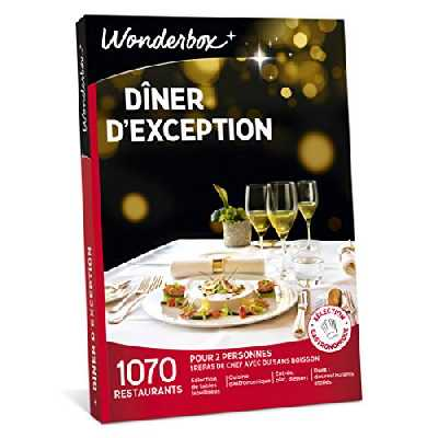 Wonderbox – Coffret cadeau fêtes des pères - DÎNER D'EXCEPTION – plus de 1.000 restaurants gastronomiques renommés, labellisés ou étoilés pour 2 personnes