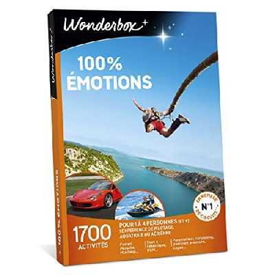 Wonderbox – Coffret cadeau – 100% EMOTIONS – 1700 activités sportives: pilotage sur circuit, ULM, saut à l'élastique, plongée sous-marine pour 1 à 5 personnes (et +)