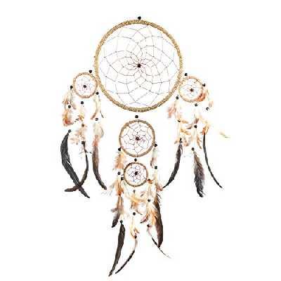 Pink Pineapple Grand Attrape Rêve Ficelle Naturelle Dreamcatcher Indien à Perles & à Plumes Fait Main - Capteur de Rêves Multicolore et Artisanal - Format Large (22x60 cm)