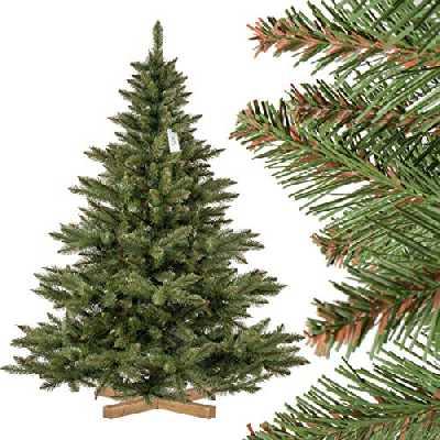 FairyTrees Sapin de Noël Artificiel, Sapin de Nordmann, Tronc Vert, matériel PVC, Socle en Bois, 180cm, FT14-180