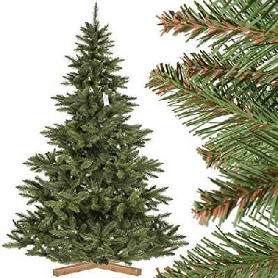 FairyTrees Sapin de Noël Artificiel, Sapin de Nordmann, Tronc Vert, matériel PVC, Socle en Bois, 220cm, FT14-220