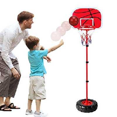 WISHTIME Ensemble de Basketball Portable et Ajustable - avec Filet et Ballon - Jeu de Sport réglable intérieur et extérieur, pour Enfants Trois Ans et Plus