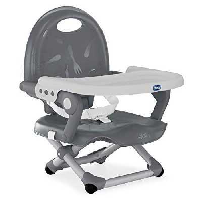 Chicco Pocket Snack Rehausseur Chaise Bébé pour Enfants de 6 mois à 3 ans (15 kg), Chaise Haute Portable, Réglable, avec Fermeture Compacte et Plateau Amovible - Dark Grey
