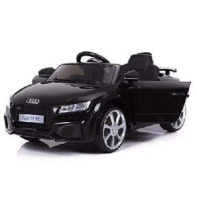 Cristom Voiture de Sport électrique 12V pour Enfant Audi TT RS Télécommande 2.4Ghz- Slot USB et Prise MP3 - Licence Audi Noir