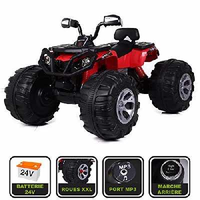 Cristom Monster Quad électrique 24V pour Enfant Connexion MP3 - MODELE XXL (Rouge)