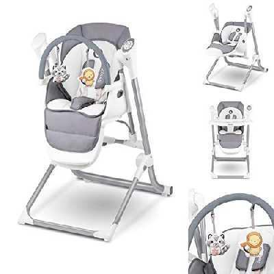Lionelo Niles 2en1 chaise haute bebe et balancelle bebe fonctionnement silencieux ceintures de sécurité à 5 points barre à jouets repose-pieds plateau réglable, gris