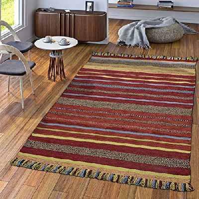 TT Home Tapis Créateur Tapis Tissé Kilim Tissé Main 100% Coton Moderne Rayé Coloré, Dimension:160x220 cm