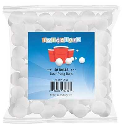 THE TWIDDLERS Lot de 50 - Balles de ping-Pong Blanches - Parfait pour Jouer au Beer Pong fêtes de Noël/anniversaire - Convient pour l'Intérieur et Jeux Plein air
