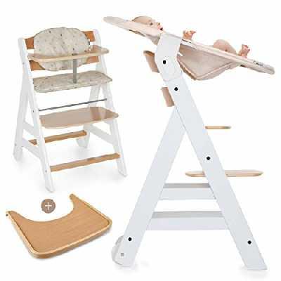 Hauck Beta Plus Newborn Set - Chaise Haute Bébé Évolutive Escalier dès naissance / Inclus Transat pour nouveau-né, Coussin assise, Tablette - hauteur réglable, Bois Blanc Nature