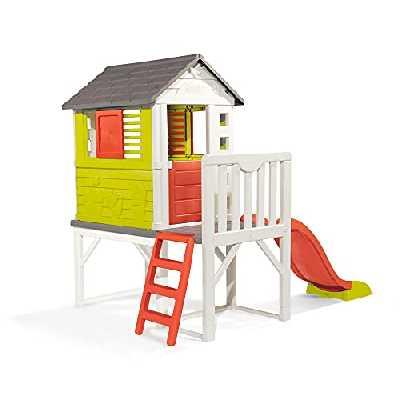 Smoby - Maison Pilotis - Cabane de Jardin Enfant - Toboggan + Echelle - 810800