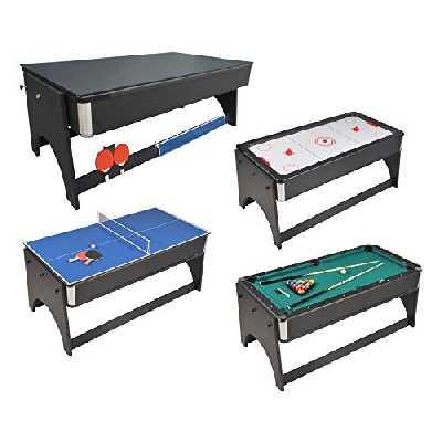 JT2D Table de Jeux 4 en 1 Air Hockey, Ping Pong, Billard et Plateau dînatoire, Accessoires Inclus - 183 x 91 x 81 cm