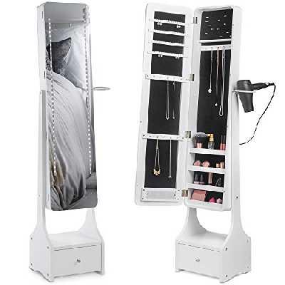 Beautify — Armoire à bijoux sur pied avec miroir à éclairage tamisable LED tactile — Tiroir inférieur — Présentoirs à bijoux intérieurs — Mobilier de chambre