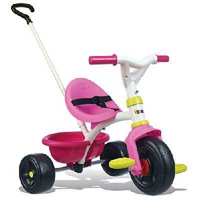 Smoby - Tricycle Be Fun Rose - Vélo Enfant Dès 15 Mois - Canne Parentale Amovible - 740322