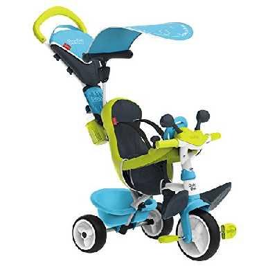 Smoby - Tricycle Baby Driver Confort Bleu - Vélo Evolutif Enfant Dès 10 Mois - Roues Silencieuses - Housse Rembourrée - Jeux au Volant - 741200