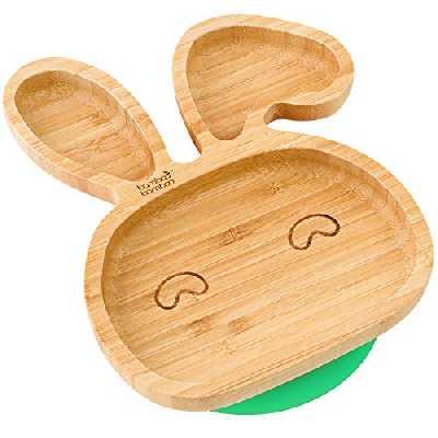 bamboo bamboo® ventouse pour bébé plat d'alimentation à ventouse, en bambou naturel En forme de tecirc te de renard (Vert)