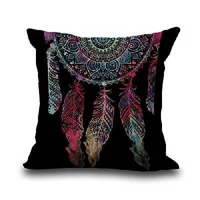 Hengjiang Weiang Housse de coussin confortable super douce pour canapé lit 45 x 45 cm Motif attrape-rêves (#07)
