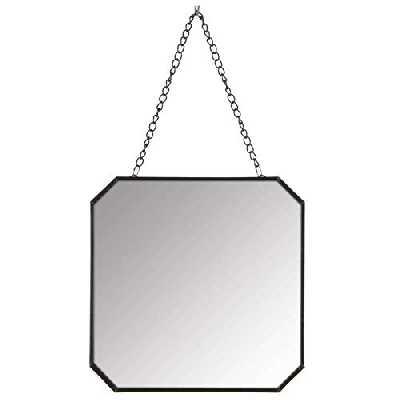 L'Héritier Du Temps Miroir Mural Glace de Forme Carrée Trumeau en Fer Patiné Noir avec Anse Chaînette 19x19x32cm