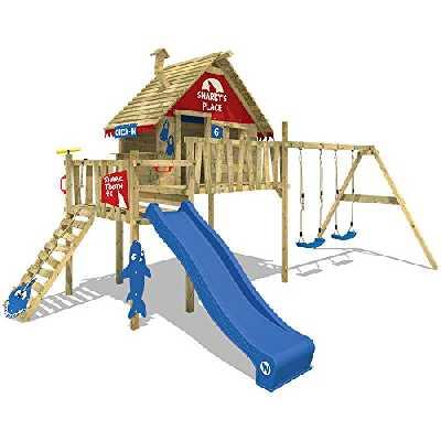 WICKEY Maisonnette sur pilotis Smart Bay Maisonnette de jeu en bois Aire de jeux avec balançoire double, toboggan, balcon et toit en bois