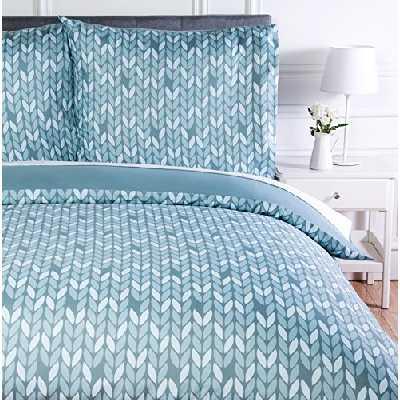 Amazon Basics Parure de lit avec housse de couette en microfibre, 240 x 220 cm, Gris (Grey Leaf)