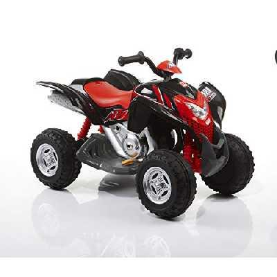 ROLLPLAY Quad Électrique, À partir de 3 Ans, Jusqu'à 35 kg, Batterie 6 Volts, Jusqu'à 4 km/h, Powersport ATV, Noir/Rouge