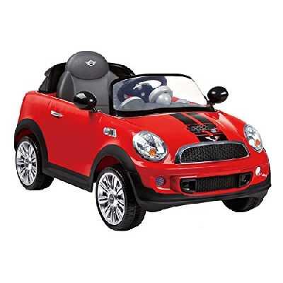 ROLLPLAY Voiture Électrique, Avec Télécommande, Fonction Marche Arrière, À partir de 3 Ans, Jusqu'à 35 kg, Batterie 6 Volts, Jusqu'à 4 km/h, MINI Cooper S Roadster, Rouge