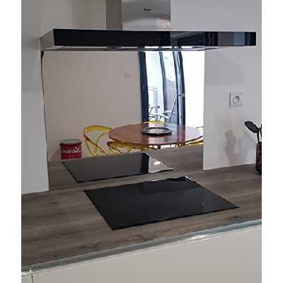 AluCouleur Fond de hotte en INOX Miroir ép 1 mm -5 Tailles- Hauteur 60 cm x (Longueur 80 cm)