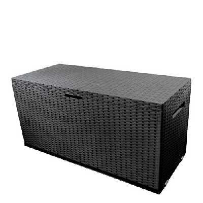 Coffre de rangement en plastique pour le jardin coffre de jardin 350 L 120x52xH60cm effet rotin anthracite