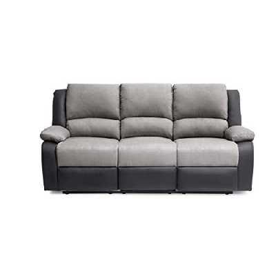 Loungitude Canapé de relaxation 3 places en PU noir et microfibre grise