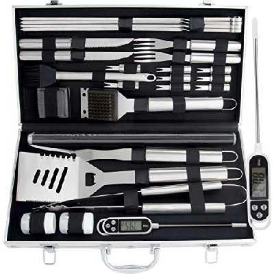 Romanticist 28Pcs Kit d'accessoires pour Barbecue à Griller - Accessoires de Barbecue en Acier Inoxydable pour Le Camping en Plein Air Barbecue - Cadeau d'anniversaire Idéal