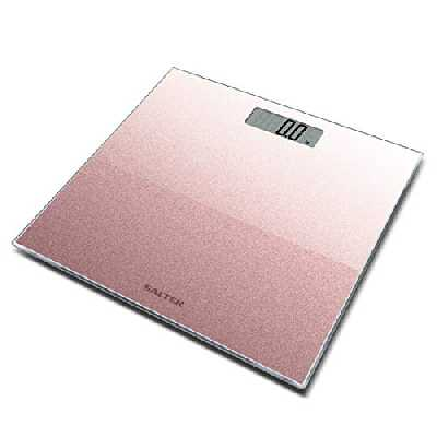 Salter Pèse-Personne Numérique Rose Gold a Paillettes | Balance Digitale avec Écran LCD Facile à Lire Rose Paillette | Garantie de 15 ans