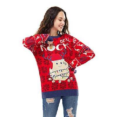 U LOOK UGLY TODAY Pull de Noël Laid pour Les Hommes, Festif pour Une Fête de Noël,Jingle Bell Rocker,S