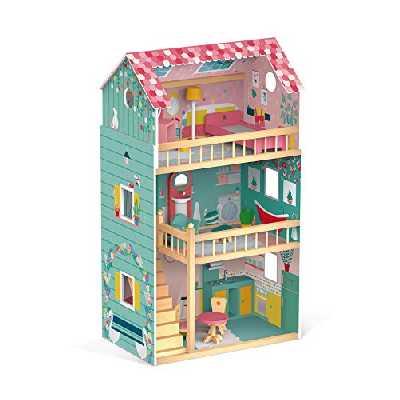 Janod Jouets D'IMITATION Maison de poupées Happy Day (Bois), J06580, Rose Vert