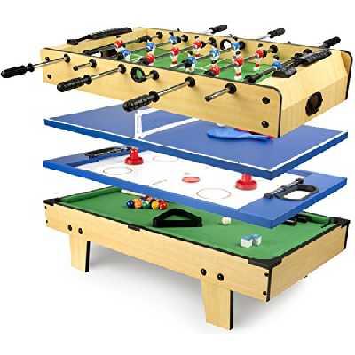Leomark 4 in 1Table de babyfoot Jeu de Football,Bilard, Tenis, Hockey Baby-Foot, Baby Foot Table en Bois Jeu de Football