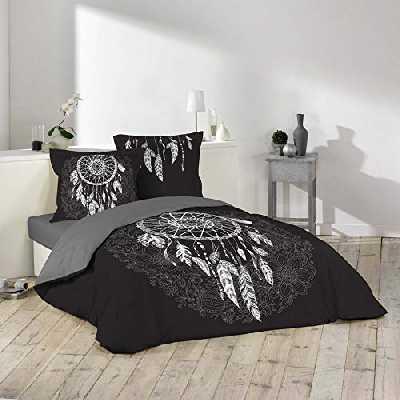 douceur d'intérieur parure 3 pièces 240 x 220 cm imprime 42 fils dessin place ista noir