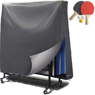 Housse de table de ping-pong extérieure - revêtement PVC / coutures collées / ouvertures de ventilation - Bâche imperméable pour tennis de table, résistante aux UV et aux intempéries – 185x165x70 cm