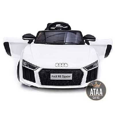ATAA CARS R8 Spyder 12v -Séige en Cuir, clés, eva- Voiture électrique pour Enfants et Filles Télécommande 2.4Ghz- Blanc