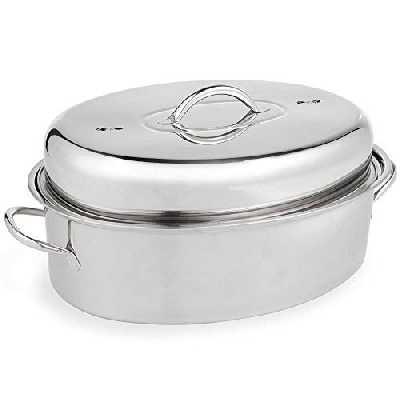 VonShef Cocotte américaine en acier inoxydable — Grand plat à rôtir à couvercle — Roaster idéal pour le poulet rôti, le rôti de dinde et les légumes