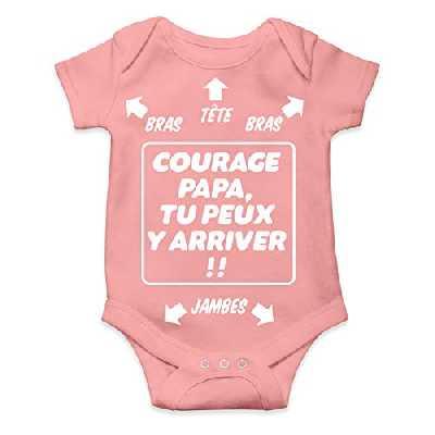 Okiwoki Body bébé Humour - Courage Papa, tu Peux y Arriver !! Cadeau de Naissance pour Petite Fille (Rose) (6 Mois)