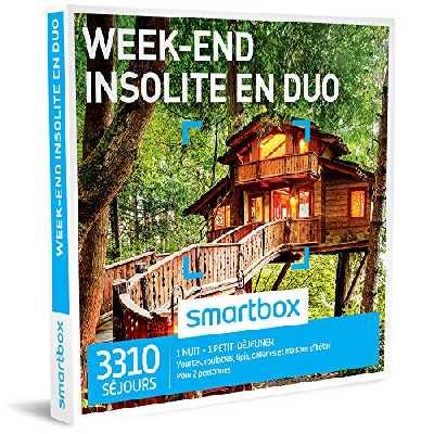 SMARTBOX - Coffret Cadeau homme femme couple - Week-end insolite en duo - idée cadeau - 3310 séjours : 1 nuit insolite • 1 petit-déjeuner pour 2