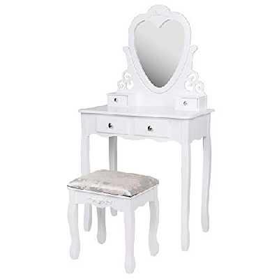 Maquillage Coiffeuse Blanc Coiffeuse avec miroir et tabouret meubles de chambre à coucher 4 Drawer 1 Mirror en forme de coeur et Stool blanc
