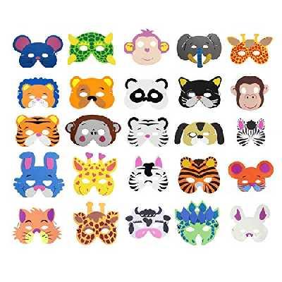 Cosoro Lot de 25 masques en mousse EVA pour enfants pour pochette cadeau de fête, bal masqué, fête d'anniversaire, Noël, Halloween
