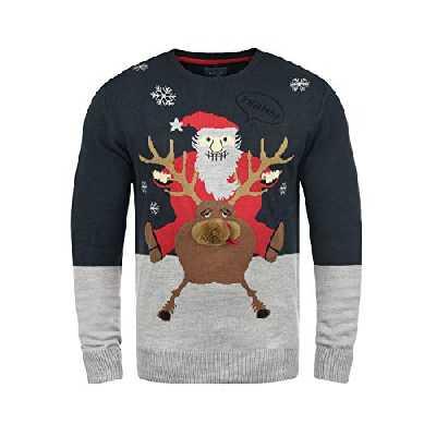 Blend Rudolph - Pull en Maille- Homme, Taille:M, Couleur:Dark Navy/Santa (74676)