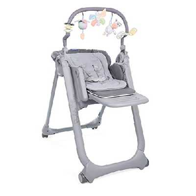 Chicco - Chaise Haute Bébé Polly Magic Relax - 4 Roues - Evolutive - Graphite