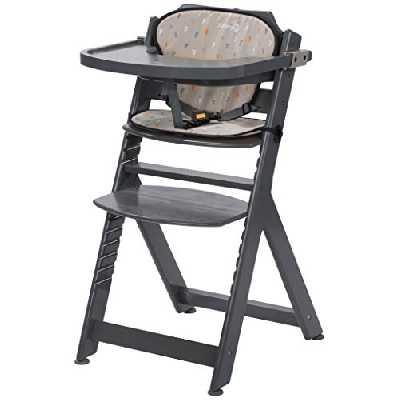 Safety 1st Chaise Haute pour bébé en Bois et Evolutive Timba avec coussin Warm Grey
