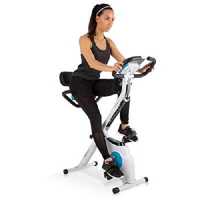 Capital Sports Azura Plus Vélo d'exercice 3-en-1 - Fitness Bike, Cardio Training, Entraînement par Courroie, Pulsomètre, 8 Niveaux de résistance magnétique, Blanc