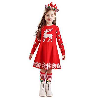 NNJXD Petite Fille de Noël Moose Printed Tenues d'hiver à Manches Longues Pull Casual Robe Pull Taille De Robe Taille100 (2-3 Ans) 442 Rouge-A