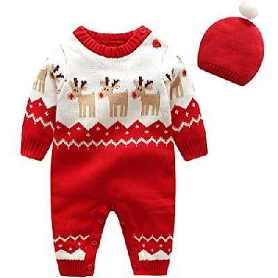 Bébé Grenouillère Barboteuse Pull de Noël - Bambin Ensemble de Vêtements Hiver Coton Pyjama Doux Combinaison à Manches Longues avec Casquette Pjs Fille Garçon Xmas Tenues