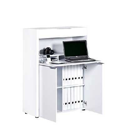 Marque Amazon -Movian Mjøsa - Bureau fonctionnel pour travail debout, 39x86x122cm, Blanc à finition ultra-brillante