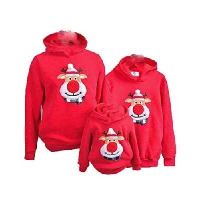 Eghunooye Sweat à Capuche Assorti de Noël, Pulls à Capuche imprimés par Le Wapiti (Medium/Maman, Rouge)