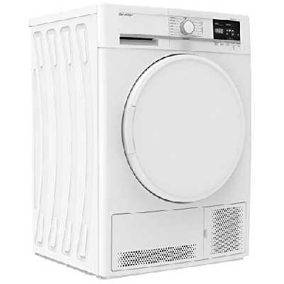 Sèche linge Condensation Sharp KDGCB7S7PW9 - Condensation - Chargement Frontal - Départ différé - Indicateur temps restant - 65 décibels